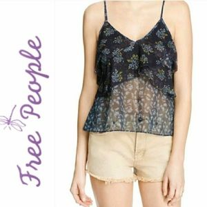 FREE PEOPLE blue floral printed lace cami M NWT